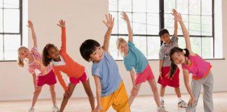 Children exercising fitness class